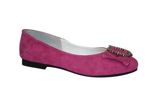 Damen Trachten Leder Ballerinas pink Gr 37