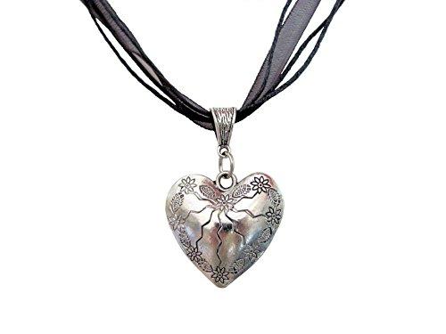 Kette Halskette Trachtenkette Organza Herz mit Edelweiss Anhänger Trachten Schmuck zum Dirndl