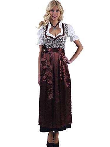 Alpenmärchen 3tlg. Dirndl-Set lang – Trachtenkleid, Bluse, Schürze, Gr. 46, braun – ALM746