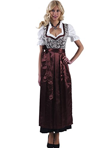 Alpenmärchen 3tlg. Dirndl-Set lang – Trachtenkleid, Bluse, Schürze, Gr. 44, braun – ALM746