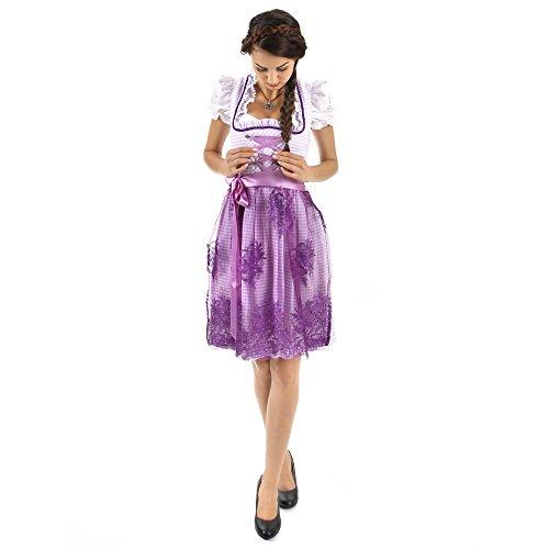 Almbock Exclusive Mini-Dirndl Camille lila violett in Gr. 34 36 38 40 42 – mit Blumen-Stickerei und Strass-Steinchen