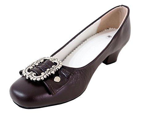 Damen Trachtenschuhe Dirndl Schuhe Trachten Pumps – Echtes Rindnappaleder Premium,Dunkelbraun, Gr.39