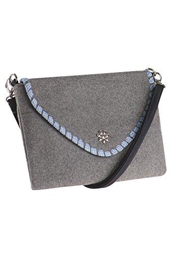DISTLER Graue Trachtentasche aus Filz Damentasche,Tasche,Filztasche,GraueTasche hellgrau,OneSize