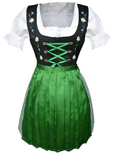 Di13 Mini Dirndl, 3 teiliges Trachtenkleid in grün schwarz mit Blumenstickerei, Kleid mit Bluse und grüner Schürze, Rocklänge 54 cm, Gr. 40