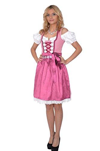 Dirndl Set 3tlg Trachtenkleid 301gt Pink karriert 40