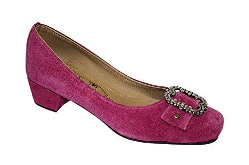 Damen Trachten Leder Pumps pink oder schwarz Gr. 36-41 (40, pink)