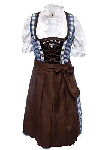 Alpenmärchen, 3tlg. Dirndl-Set – Trachtenkleid, Bluse, Schürze, Gr.44, blau-braun, ALM013