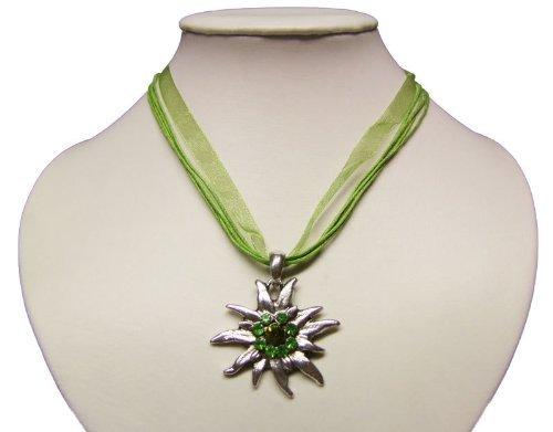 Trachtenkette mit Edelweiss Anhänger in Vielen Farben. Halskette für Dirndl und Lederhose (Grün)