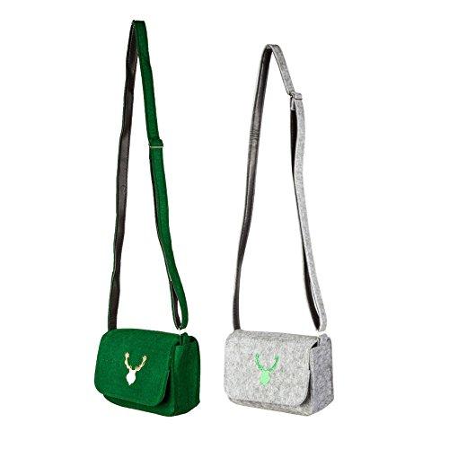 Trachtentasche Dirndltasche Filz Handtasche Grün Hirsch, Druckknopf, Umhängetasche mit verstellbarem Trageriemen (Gruen)
