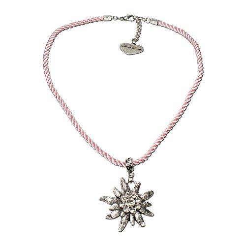 Trachtenschmuck Trachtenkette Kordel mit Strass-Edelweiß (rosé) * Damen Dirndlkette, Kordelkette Oktoberfest