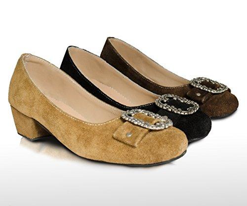 Damen Trachtenschuhe Dirndl Schuhe Trachten Pumps, Echtes Leder, Drei Farben Gr. 37-41 (37, Rehbraun)