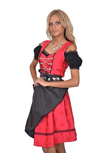 Dirndl Set 3tlg Trachtenkleid R313gt Rot gepunktet 34