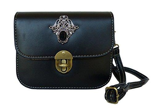 Trachtentasche Umhängetasche fürs Dirndl im Vintage Design – Antikstil Applikation (Schwarz (Ornament))