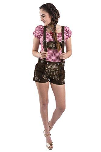 Damen Jugendstil Wiesn Trachtenlederhose – statt Dirndl – kurz Trachten Lederhose dunkelbraun Trachtenhose Hotpants Lederhose (38, dunkelbraun)