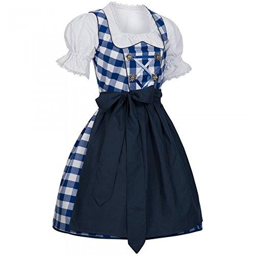 PAULGOS Dirndl Set 3 Teilig Marie, Trachtenkleid, Dirndl Bluse, passende Schürze, verschiedene Farben, Farbe:Blau, Damen Größe:42