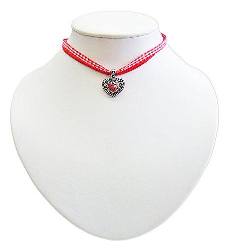Kinder Trachten Halskette kariert mit Herz Anhänger Rot – Süßer Schmuck für Mädchen zu Dirndl und Kleidern