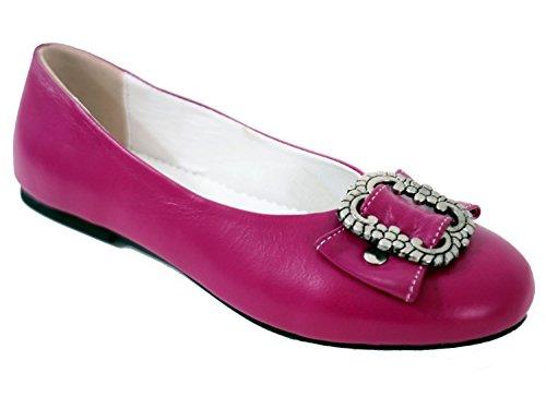 Damen Trachtenschuhe Dirndl Schuhe Trachten Ballerinas Echtes Rindnappaleder Premium, Pink, Gr.38