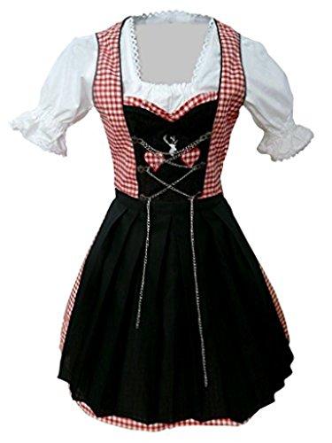 Di04 Mini Dirndl, 3 teiliges Trachtenkleid in rot weiß, Kleid mit Bluse und schwarzer Schürze, Rocklänge 47-56 cm, Gr. 52
