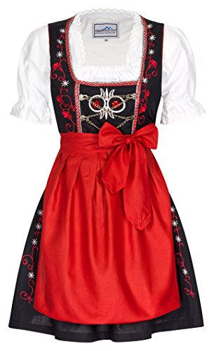 Mini Dirndl Chouette – rot, schwarz Oktoberfest Dirndlkleid – Original Frohsinn – Alle Größen, Rot, 38