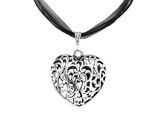 Trachtenschmuck Trachtenkette Oktoberfest Wiesn Damen Schmuck Halskette Kette 45cm + 5cm Verlängerung Herz Anhänger 7cmx5cm