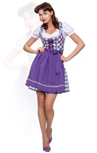 Stockerpoint Minidirndl 3tlg. Joy violett 50 cm Blockkaro Wiesn Dirndl, Größe 40