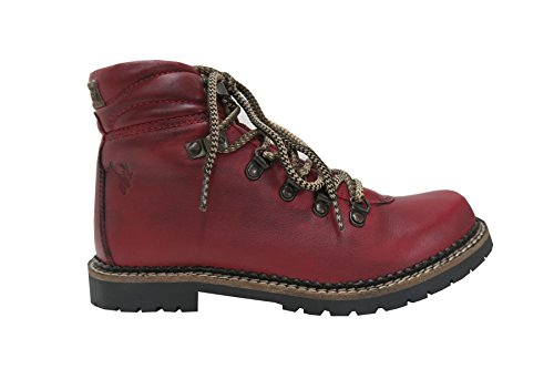 Damen Boot Schuhe Stiefel Nappa rot Trachtenstiefel
