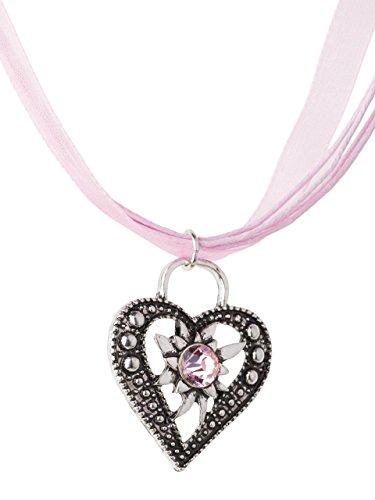 Trachtenkette Wiesnstein eleganter Herz Anhänger mit Strass – viele Farben – Trachtenschmuck Kette für Dirndl und Lederhose (Pink)