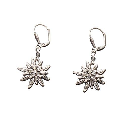 Trachtenschmuck Trachten-Ohrringe Strass-Edelweiß (klar) * Damen Dirndl Ohrringe, Edelweiss Ohrringe Oktoberfest