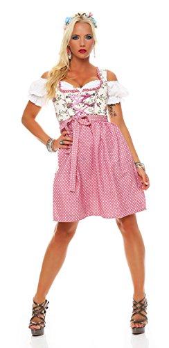 Fashion4Young Dirndl 3 tlg.Trachtenkleid Kleid Mini Bluse Schürze Trachten Oktoberfest (34, Altrosa-Creme-Multi)