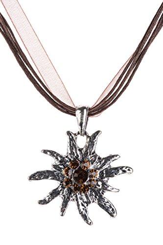 Trachtenkette Edelweiss Trachtenschmuck – Trachten Kette mit feinem Strass in div. Farben – Halskette für Dirndl und Lederhosen (Braun)