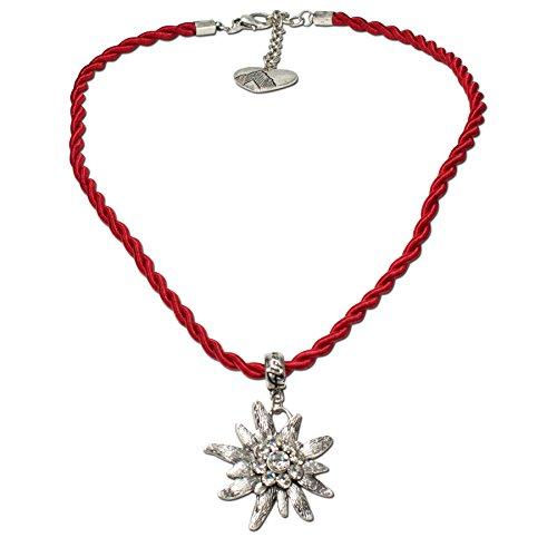 Trachtenschmuck Trachtenkette Kordel mit Strass-Edelweiß (rot) * Damen Dirndlkette, Kordelkette Oktoberfest