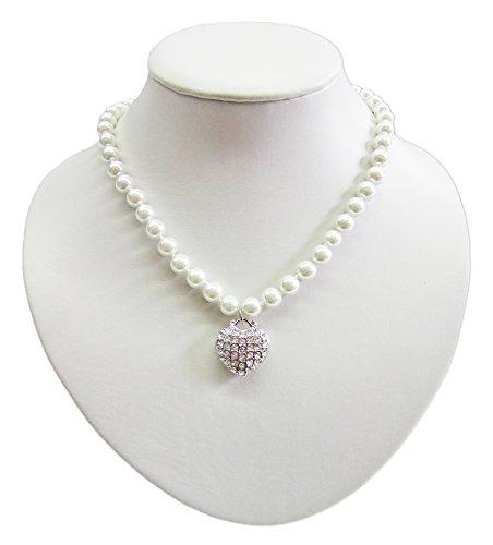 Perlen Kette mit Strass Herz – Zauberhaftes Schmuck Collier zum Dirndl, Brautkleid oder Abendkleid