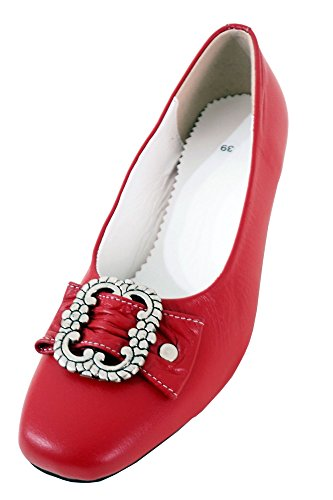 Damen Trachtenschuhe Dirndl Schuhe Trachten Pumps – Echtes Rindnappaleder Premium, Rot, Gr.37