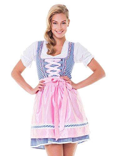 Alpenmärchen, 3tlg. Dirndl-Set – Trachtenkleid, Bluse, Schürze, Gr.38, blau-rosa – ALM3026