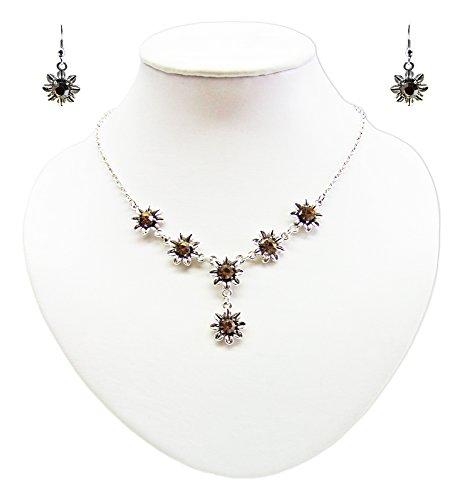 Blumen Collier mit Ohrhängern Braun – Zauberhafte Schmuck Sets bestehend aus Halskette und Ohrringen