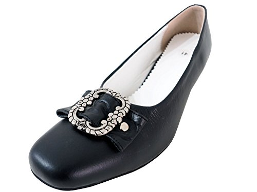 Damen Trachtenschuhe Dirndl Schuhe Trachten Pumps – Echtes Rindnappaleder Premium, Schwarz, Gr.39