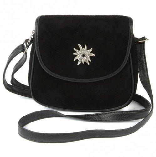 Kleine, schwarze Trachtentasche Dirndltasche Umhängetasche Wildleder mit Swarovski-Edelweiß.