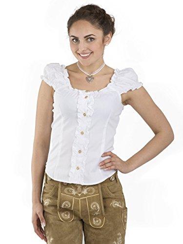 Trachtenbluse Carmen weiss – elegante Bluse – Trachten Carmenbluse (40, Weiss)
