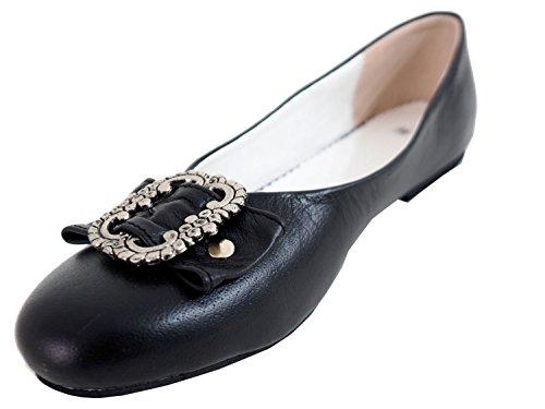 Damen Trachtenschuhe Dirndl Schuhe Trachten Ballerinas Echtes Rindnappaleder Premium, Schwarz, Gr.38