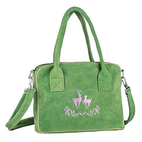 Trachten-Handtasche aus Echtleder, 23cm, grün, Henkeltasche