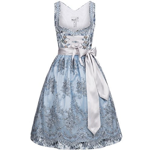 Midi Dirndl Becky in Hellblau von Marjo Trachten, Größe:34, Farbe:Hellblau