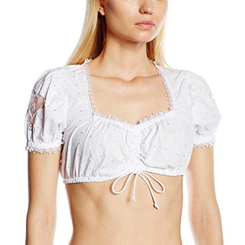 Stockerpoint Damen Regular Fit Trachtenbluse Bluse B-3025, Gr. 42, Weiß (weiß)