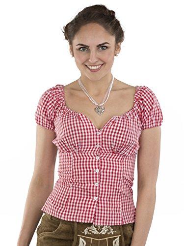 Trachtenbluse Damen Wiesnzeit rot/weiss – Dirndl Lederhose Bluse – Trachten Carmenbluse (44, rot/weiss)