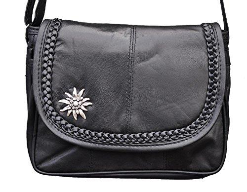 Trachten Tasche Handtasche mit Edelweiss Echt Leder Schwarz 6627