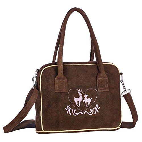 Trachten-Handtasche aus Echtleder, 23cm, braun, Henkeltasche