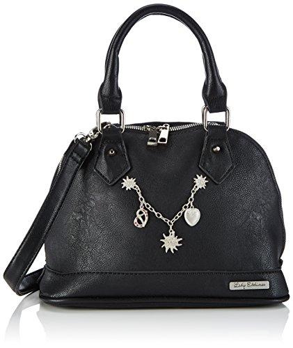 Lady Edelweiss Charivari-Tasche 15001 Damen Henkeltaschen 27x17x13 cm (B x H x T), Schwarz (schwarz)