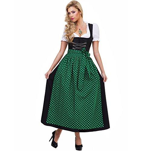 Almbock Langes Dirndl Luisa schwarz mit grüner Schürze in Größe 36 38 40 42 44 46 – Trachten-Mode, Damen, festlich