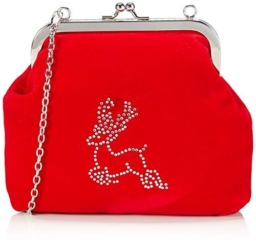 Werner Trachten Trachtentasche 05649 Damen Umhängetaschen 19x17x3 cm (B x H x T), Rot (rot)