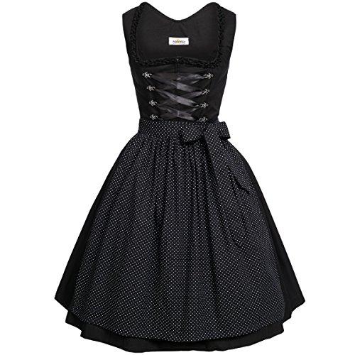 BEST-PRICE Midi Dirndl Amelie in schwarz von Almsach, Größe:38, Farbe:Schwarz