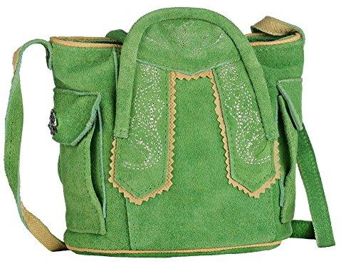 Trachten-Handtasche aus Echtleder, 15cm, grün
